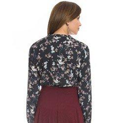 camisa gola choker floral preto principessa sabrina detalhe look costa