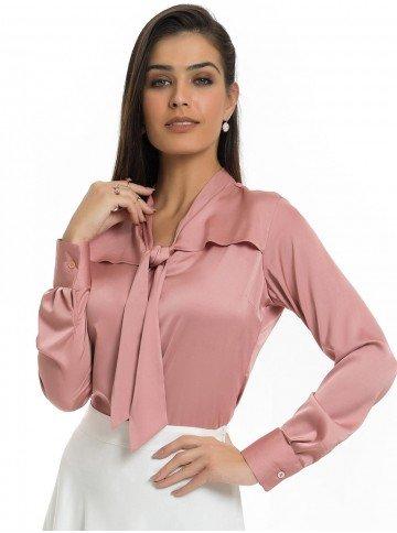 Camisa Rosa Antigo Feminina de Cetim Principessa Miriam