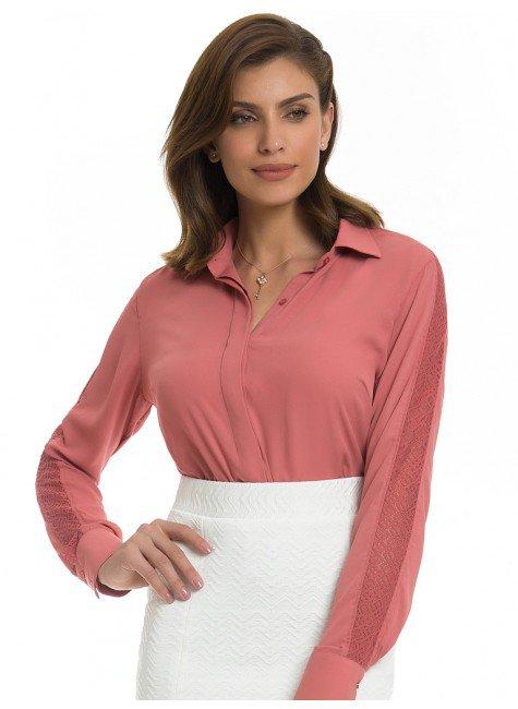 camisa social feminina com renda principessa ana luiza look