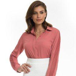 camisa socia feminina com renda principessa ana luiza detalhe look