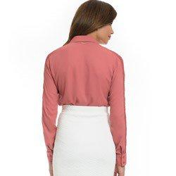 camisa socia feminina com renda principessa ana luiza detalhe modelagem