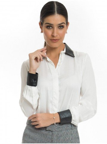 camisa social detalhe couro principessa jasmine look