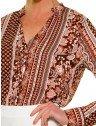 camisa estampada marrom principessa luciana botoes