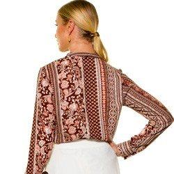 camisa estampada marrom principessa luciana detalhe modelagem