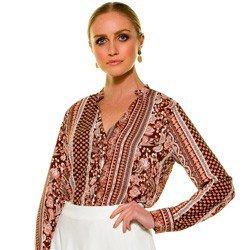 camisa estampada marrom principessa luciana detalhe modelo