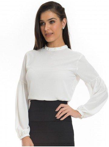 blusa com perolas na gola principessa christiane off white look