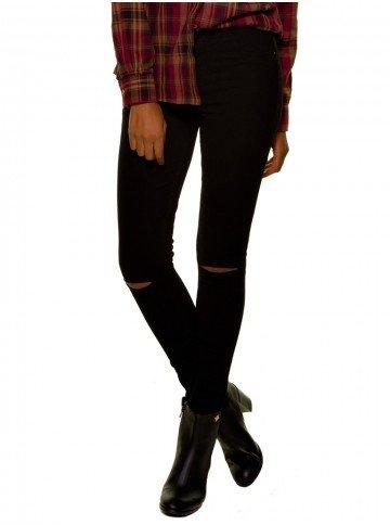 calca jeans feminina preta joelho rasgado denimzero dz2694