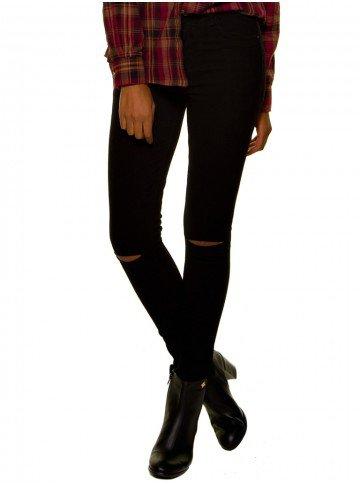 calca jeans feminina preta joelho rasgado denimzero dz2694 look