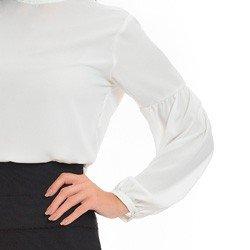 blusa off white com perolas na gola principessa christiane detalhe mangas