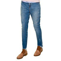 calca jeans feminina girlfriend denim zero dz2566 barra rasgada detalhe