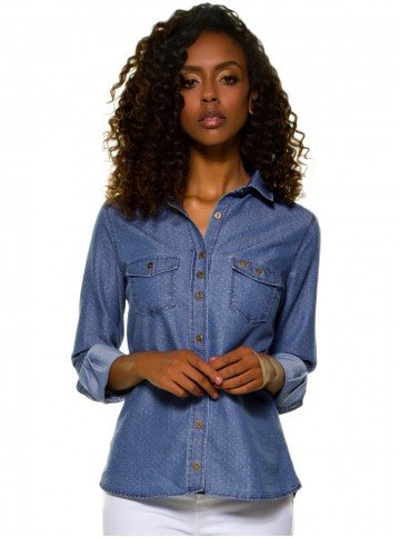 camisa jeans feminina maquinetada principessa emma look