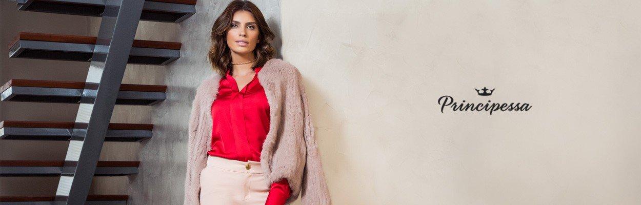blusa social feminina vermelha principessa alessa banner conceito