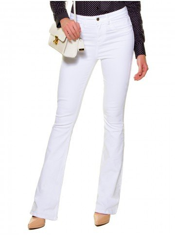 calca flare branca jeans denim zero dz2696 look