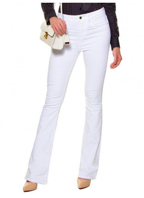 calca flare branca jeans denim zero dz2696 look
