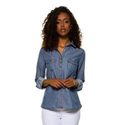 camisa jeans fem maquinetada principessa emma peca