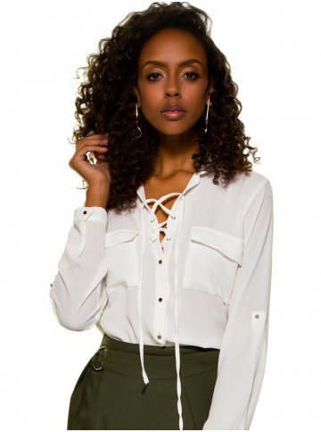 camisa com amarracao feminina principessa joaquina off white look