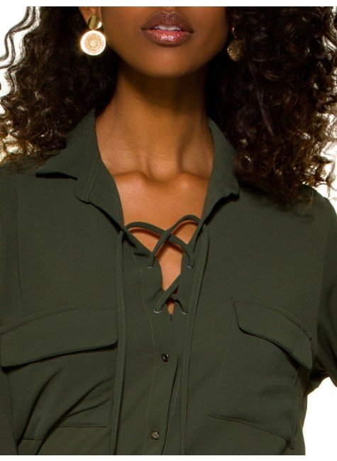 ... camisa feminina verde militar com amarracao principessa oriana crepe  bolso ... e05d99eb2d