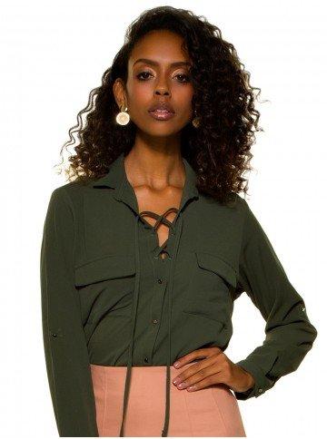 camisa feminina verde militar com amarracao principessa oriana crepe look a13cc01259461