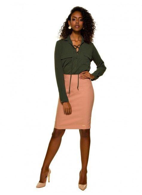 ... camisa feminina verde militar com amarracao principessa oriana crepe  look completo ... 8341be0b0c