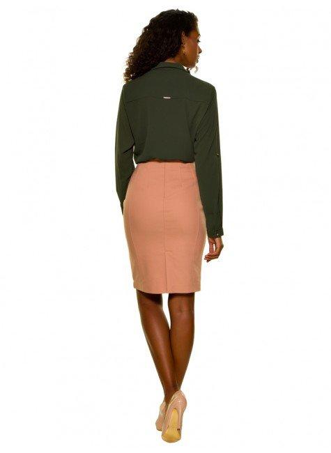 ... camisa feminina verde militar com amarracao principessa oriana crepe  look completo costa ... 3d1672dafd