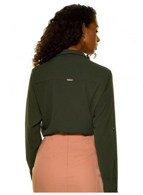 ... camisa feminina verde militar com amarracao principessa oriana crepe  look costa ... b838adb4a3