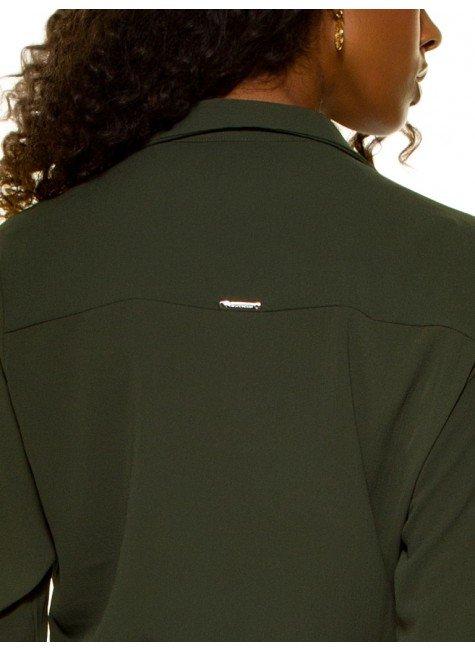 ... camisa feminina verde militar com amarracao principessa oriana crepe  placa ... 1b0d8049a1