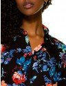 camisa feminina floral preto principessa celeny gola
