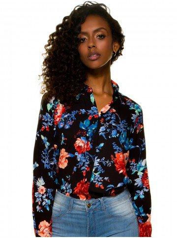 camisa feminina floral preto principessa celeny look