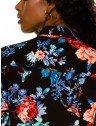camisa feminina floral preto principessa celeny placa