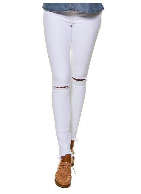 calca skinny branca joelho rasgado denim zero dz2694 look