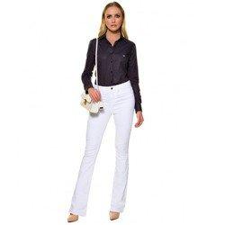 calca flare branca jeans denim zero dz2696 look completo