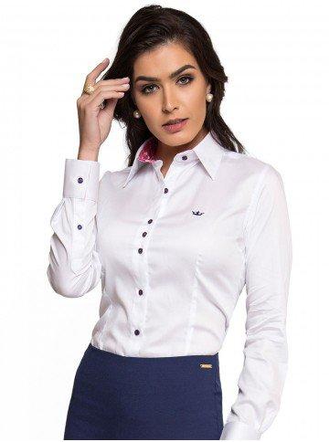 camisa social feminina de fio egipcio principessa nalva look frente