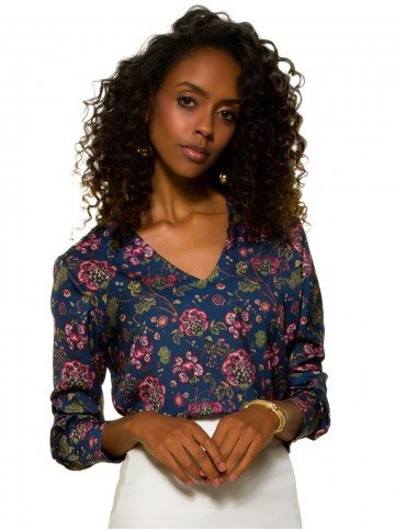 blusa floral azul principessa tassia frente