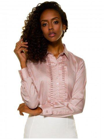 camisa acetinada drapeada rosa glenda frente