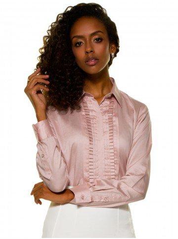 camisa glenda drapeado rosa frente