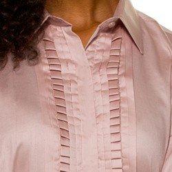 camisa glenda drapeado rosa frente detalhes mini