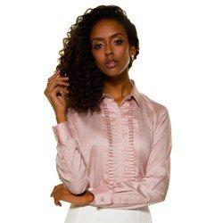 camisa glenda drapeado rosa frente mini