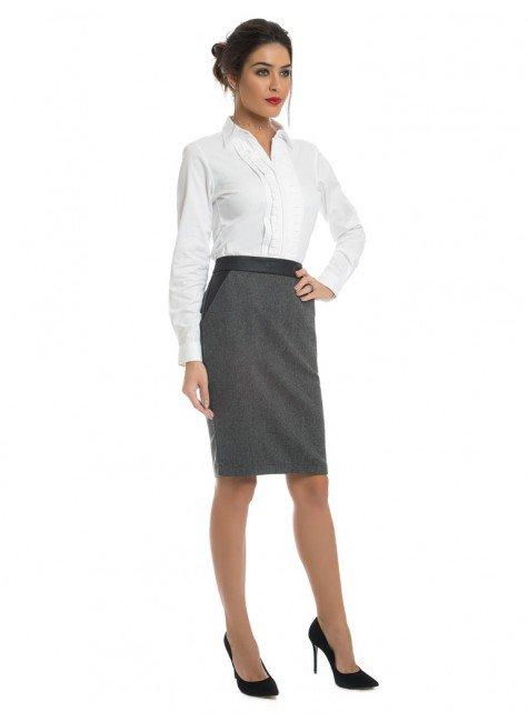 64cc1e5836e7a ... camisa social branca feminina com drapeado principessa benita look  completo ...