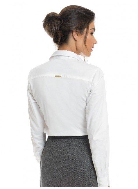 2f3934c82257f ... camisa social branca feminina com drapeado principessa benita look  modelagem ...