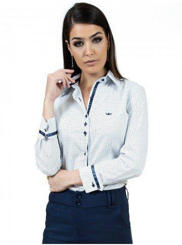 camisa manga longa estampada com cetim prin mariah metade frente