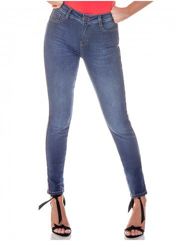 calca feminina denim listras laterais frente