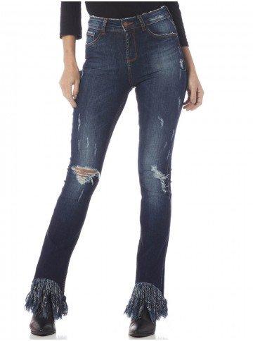 calca feminina barra franja azul frente