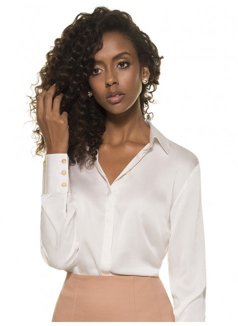 d6244b5d9a Camisa Clássica de Seda Feminina Off White Principessa Adele