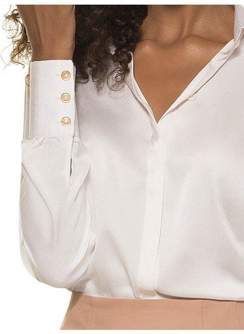 fa3db5ca20 Camisa Clássica de Seda Feminina Off White Principessa Adele