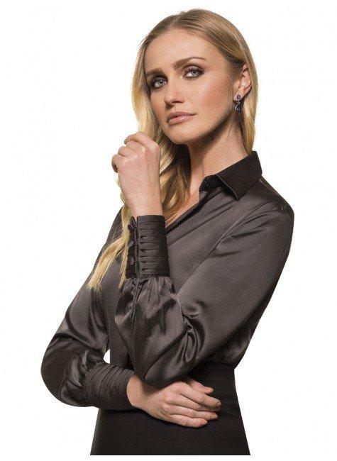 Camisa Imponente de Seda Feminina Chumbo Principessa Beth af207c1e41a1b