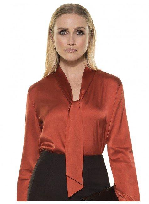 4b2f6f480 Camisa Moderna de Seda Feminina Ferrugem Principessa Anielle