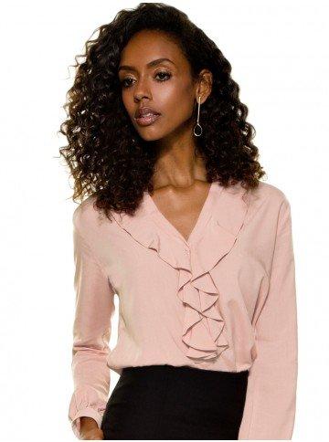 camisa social feminina rose com babado principessa kate frente