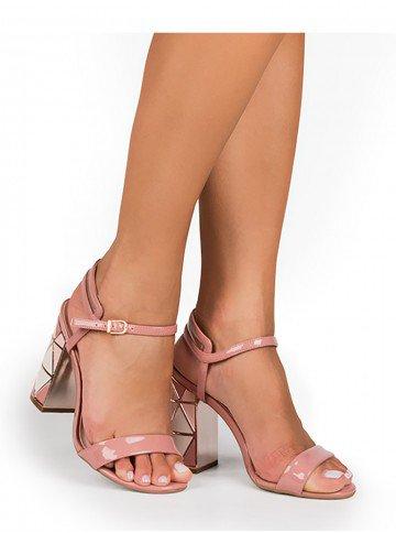 sandalia feminina rosa frente