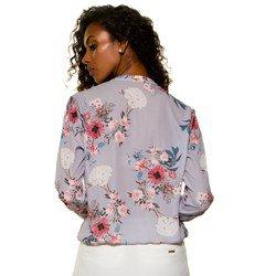 blusa transpassada floral lilas evania frente mini modelagem