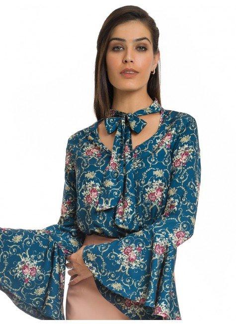 blusa social floral com gola laco principessa evelise look